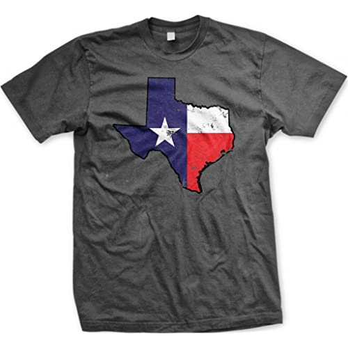 Texas State Shaped Flag Mens T-shirt Texan Pride State Shape Flag Design Mens Tee