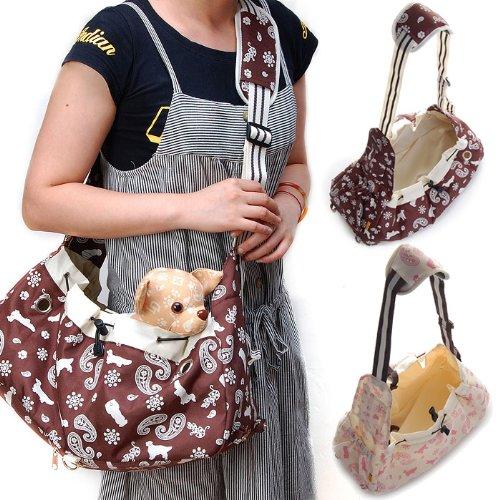 Image Foldable Canvas Shoulder Bag Sling Pet Carrier (Brown)