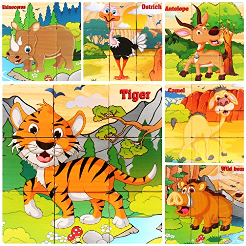 Bearstar-Wooden-9-pcs-Cube-Puzzles-Kids-Best-Blocks-for-2-3-4-5-Years-Old-Toddlers-Kids--Third-Animals