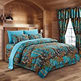 The Woods Sea Breeze Camouflage Queen 8pc Premium Luxury Comforter, Sheet, Pillowcases, and Bed Skirt Set by Regal Comfort Camo Bedding Set For Hunters Cabin or Rustic Lodge Teens Boys and Girls