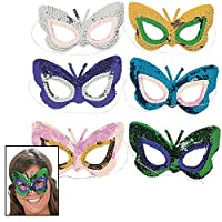 Butterfly Sequin Masks (1 dz) by Fun Express