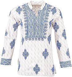 ALMAS Lucknow Chikan Women's Cotton Regular Fit Kurti (Cream and Blue)