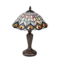 Tiffany Style Peacock Stained Glass Lamp