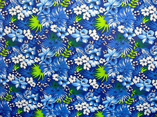 "Hawaiian Islands Blue Hibiscus & White Leis Tropical Foliage Fabric 60"" By The Yard"