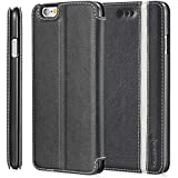 "Apple iPhone 6 Plus (5.5"") Wallet Case - Fosmon CADDY-TONE Slim Leather Case with Stand for Apple iPhone 6 Plus (5.5"") (Black / White)"
