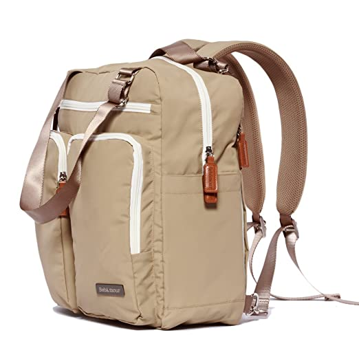 Bebamour Travel Backpack Diaper Bag Tote Handbag Purse (Light Khaki)