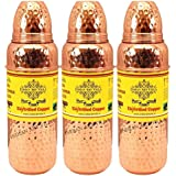 IndianArtVilla Pure Copper Hammered Set Of 3 Thermos Design Bottle 700 ML Each - Storage Water Serveware Good...