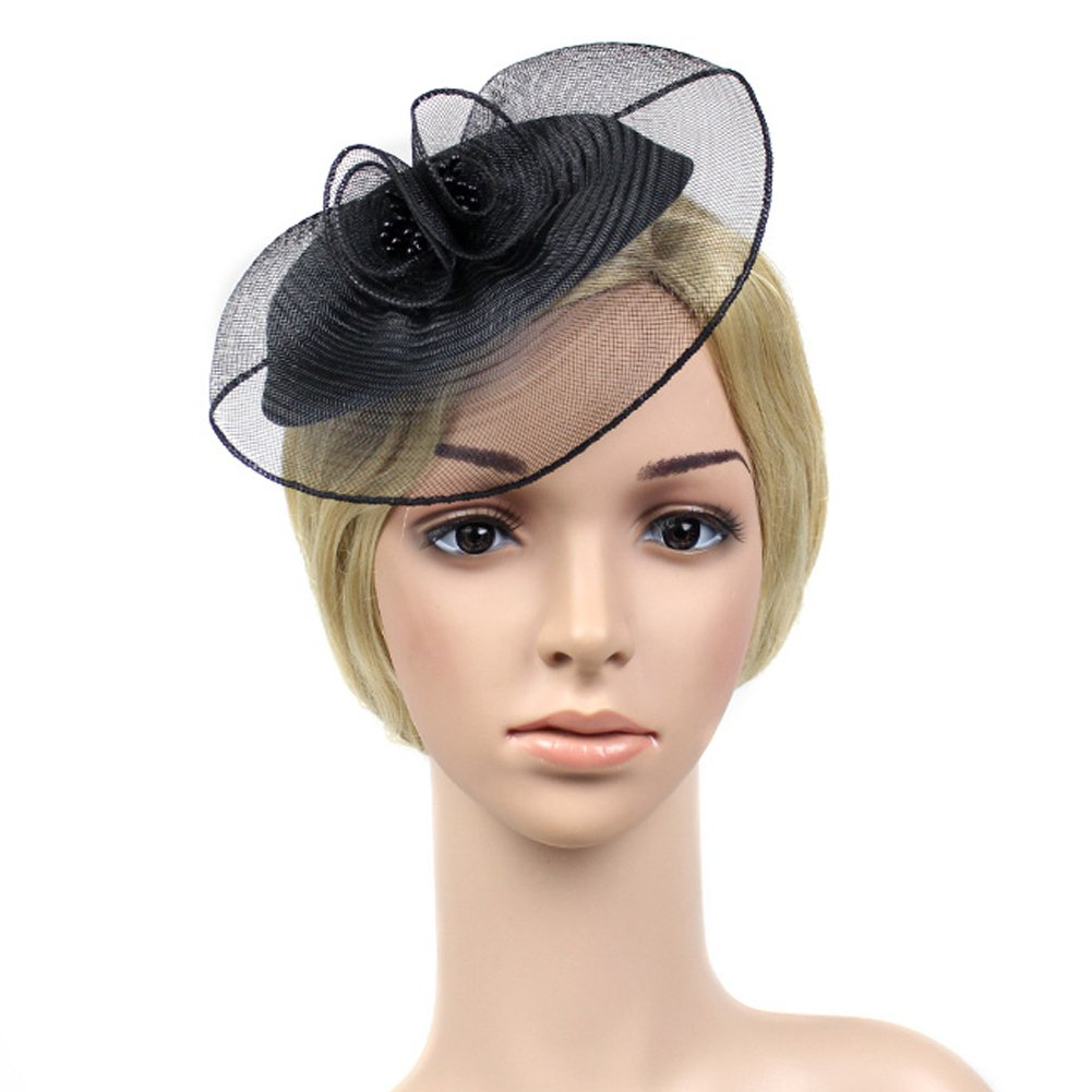 FAYBOX Vintage Mesh Net Wool Felt Pillbox Flower Women Fascinator Hat Hair Clip 1