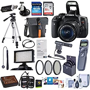 Canon EOS Rebel T6i DSLR Camera with EF-S 18-55mm f/3.5-5.6 IS STM Lens, - Bundle With 32/16GB SDHC Card, Camera Bag, Spare Battery, Tripod, Video Light, 58mm Filter Kit, Remote Shutter Trigger, More