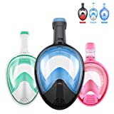 BFULL Newest Version Full Face Easy Breath Snorkel Mask 180° Panoramic Sea View Anti-fog Anti-leak Snorkeling Mask with Action Camera Mount and Soft Adjustable Head Straps For Kids and Adults