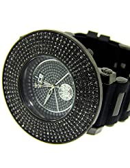 Mens 6 Row Wrist Watch Heavy Hip Hop Bling Gunmetal Iced Out Silver Plated