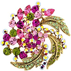 Fuchsia Pink Flower Wedding Pin Swarovski Crystal Pin Brooch and Pendant(Chain Not Included)