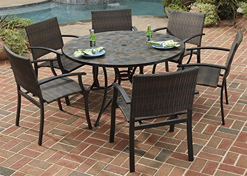 Home Styles 5601-368122 Stone Harbor 7-Piece Dining Set with Table and Newport Arm Chairs, Black Finish, 51-Inch image