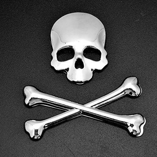 Chrome Tank Fender Fairing 3D Skull Demon Bone Crossbones Badge Emblem Metal Sticker Decal Decoration For Harley Cruiser Bobber Chopper Sport Bike (Style 1) (Harley Metal Emblem Sticker compare prices)