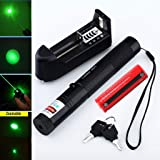 Laser High Power Green Laser Burning Laser Pointer Pen 5mw 405nm Beam + 18650 Battery&Charger (Color: Green)