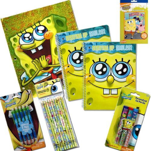 SpongeBob Squarepants Back To School Value Pack Gift Set - 7 Piece Sponge Bob Back To School Supply Set For Kids with 1 Folder, 2 Spiral Notebooks, Pack of 3 Pens, 5-Pack of Mechanical Pencils, 12-Pack of Colored Pencils PLUS Bonus Sticker Pad of Spongebob Stickers