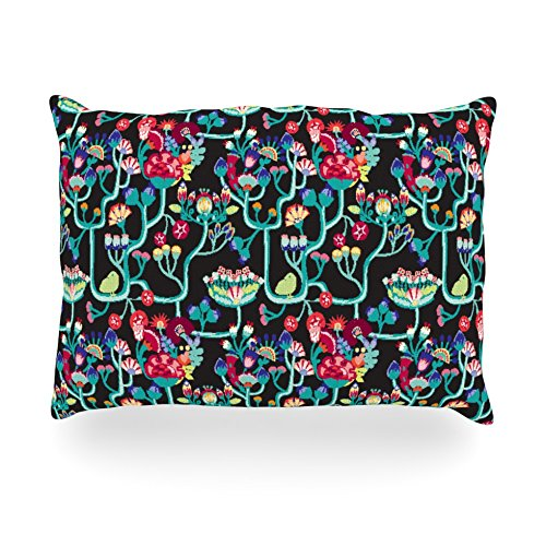 "Kess Inhouse Agnes Schugardt ""Antique Folk"" Rainbow Black Oblong Rectangle Outdoor Throw Pillow, 14 By 20-Inch front-986092"