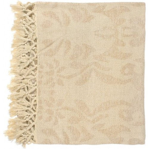 "Surya Tristen Tst-2004 Hand Woven 100% Viscose Off White 50"" X 70"" Damask Throw"