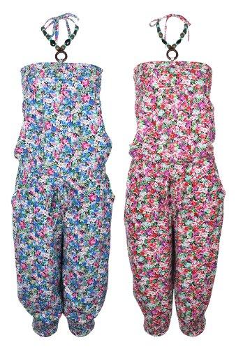 Ladies New Ditsy Floral Print Beaded Halterneck Cropped Jumpsuit Womens Playsuit