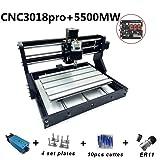 CNC Milling Machine CNC 3018 Pro Milling Machine CNC 3018 Pro GRBL Control DIY Mini CNC Machine 3 Axis Mini DIY Wood Router CNC Engraving Machine + ER11 + 5mm Extension Bar 5500MW Laser (Tamaño: 5500MW Laser)