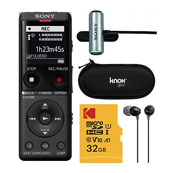 Sony ICDUX570BLK Slim Design Digital Voice Recorder (Black) Complete Professional Bundle - 32GB Micro SD, Sony ECMCS3 Mic, Sony EX15 Earbuds, and Knox Gear Hardcase (5 Items) (Tamaño: Complete Pro Bundle)