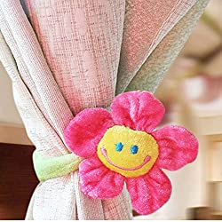 2Pcs Cute Smile Face Sunflower Plush Curtain Clip Clasps Tie Holders