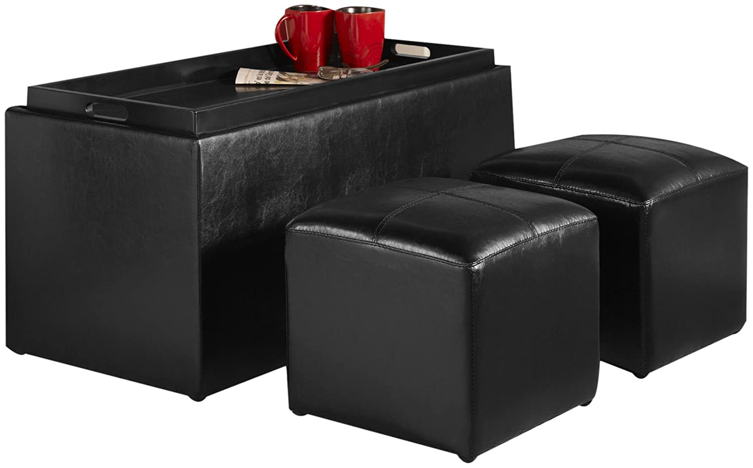 Faux Leather Storage Bench 2 Side Ottomans Coffee Table Footstool Hardwood Tray Ebay