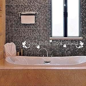 Enjoy lather soak unwind bathroom wall decal quote bath for Bathroom art amazon
