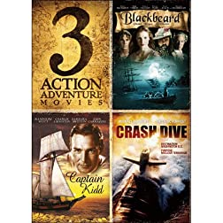 3-Movie Action Adventure: Blackbeard / Captain Kidd / Crash Dive