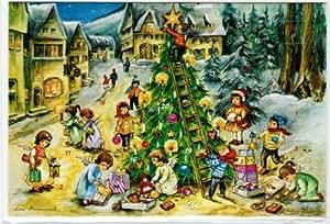 nostalgischer adventskalender doppelkarte engelchen schm cken den weihnachtsbaum mit. Black Bedroom Furniture Sets. Home Design Ideas