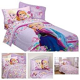 Disney Frozen Love Blooms Reversible Twin Comforter and Sheets Set