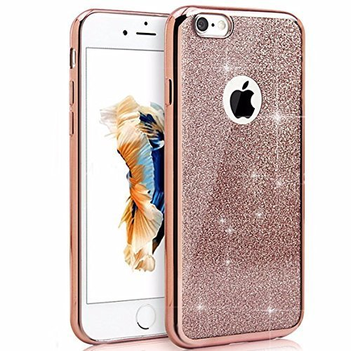 """For iPhone 6s/iphone 6 4.7"""" Case, Bling Glitter Detachable Ultra-Thin Electroplating Technology Soft Gel TPU Silicone Back Cases Cover for iPhone 6s/iphone 6 4.7"""" [Rose Gold]"""