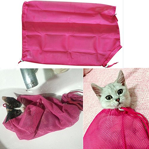 i'Pet® Adjustable Polyester Mesh Big Cat Grooming Bag Dog Cleaning No Scratching Biting Restraint for Bathing Nail Trimming Injecting Examing (Rose Red)
