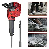 BSTOOL 52 cc 2.4HP 2 Stroke Electric Gas Powered T Post Driver Gasoline Piling Driver Demolition Jack Hammer Concrete Breaker Rock Drill Punch Bit Pile Piling Driver Chisel 1.2L w/EPA Certificated