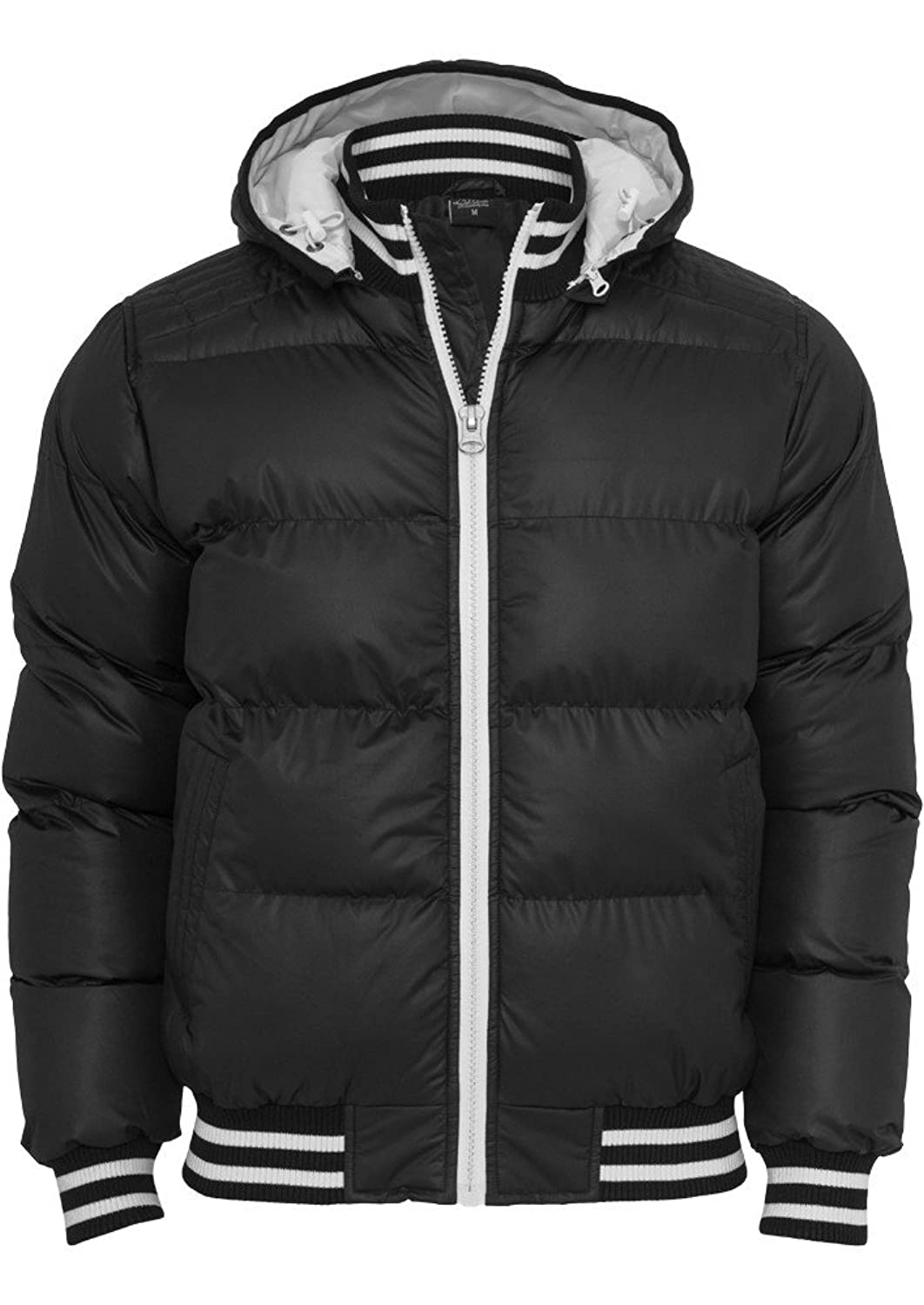 URBAN CLASSICS Hooded College Bubble Jacket, black