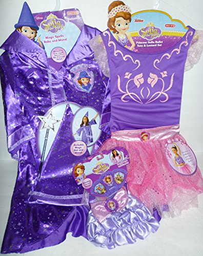 [Sofia the First 3-pc Dress Up Bundle: Magic Spells Robe, Leotard, Purse & Fan] (Sofia The First Dress Up Costume)