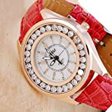 Ladies Luxury *Hot Sell 2013* Imitation Shinning Diamond Red Leather Strap Quartz Wrist-Watch - Free UK Delivery + Gift Box Included!
