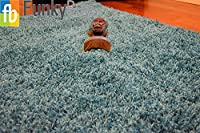 Ex-Large Small Size Thick Plain Soft Shaggy Rug Non Shed Pile Modern Rugs Duck Egg Blue/Teal Blue Size: 80 x 150cm Best on Amazon from FunkyBuys®