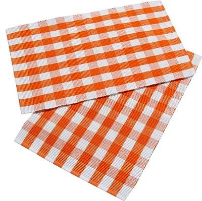 Homescapes Platzsets Block Check 2tlg orange weiß kariert aus 100% reiner Baumwolle, Stoffservietten orange von Homescapes auf Gartenmöbel von Du und Dein Garten