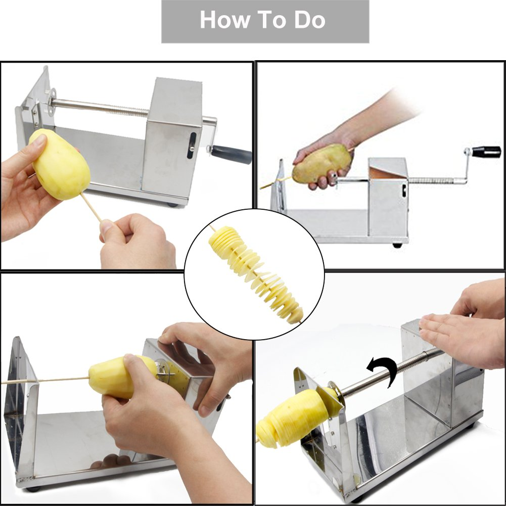 RioRand Manual Stainless Steel Twisted Potato Slicer Spiral Vegetable Cutter French Fry