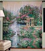 Thomas Kinkade Garden of Prayer Window Art Curtain