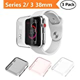 Apple Watch Series 2 & Series 3 Case 38mm, Monoy New [3 Pack] [Ultra Thin] Slim HD PC Screen Protector Protective Cover for iWatch 2 iwatch 3 38mm (38mm) (Color: Series 2/3 38mm, Tamaño: 38mm)