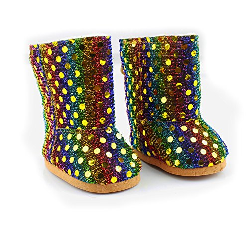 Ebuddy Colorful Shinning Style Doll Shoes Boots Fits 18 Inch Girl Dolls Handmade
