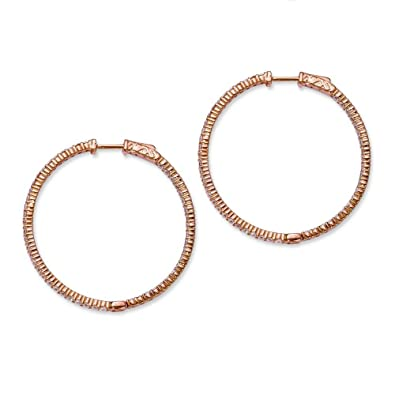 Sterling Silver Pink Plated With CZ Hoop Earrings