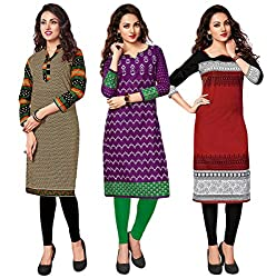 Salwar Studio Women's Pack of 3 Cotton Printed Unstitched Kurti Fabric DT-306-318-308