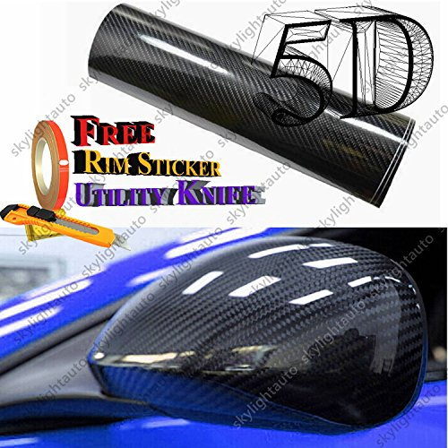 5ft X 6ft Black 5D HIGH GLOSS Carbon Fiber Vinyl Film Wrap Sheet With Air Release Pockets Bubble Free (High Gloss Carbon Fiber Car Wrap compare prices)