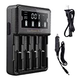 LCD Display Speedy Universal 18650 Battery Charger with Car Adapter Smart Charger for Rechargeable Batteries Ni-MH Ni-Cd AA AAA AAAA C, Li-ion 26650 22650 18490 17670 17500 18350 16340(RCR123) 14500