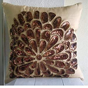 Desert Rose - 18x18 inches Square Decorative Throw Beige Silk Pillow Covers Embellished with Beads & Sequins