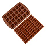 Silicone Brownie Baking Molds Pan - Small Cake Candy Molds Square and Rectangular Silicone Chocolate Molds Set of 2 (Color: Brown)