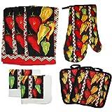 J & M Home Fashions 8-Piece Printed Kitchen Towel Set, Caliente